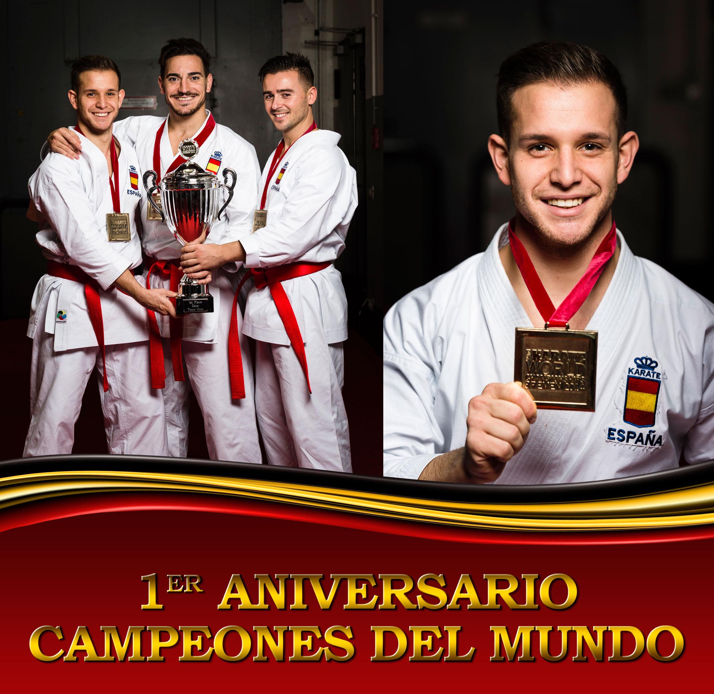 1er Aniversario: Campeones del Mundo de Kata por Equipos Se ha cumplido un año de la victoria del equipo español en el Campeonato del Mundo de Karate.